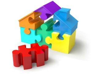 puzzle pieces, house shape, real estate