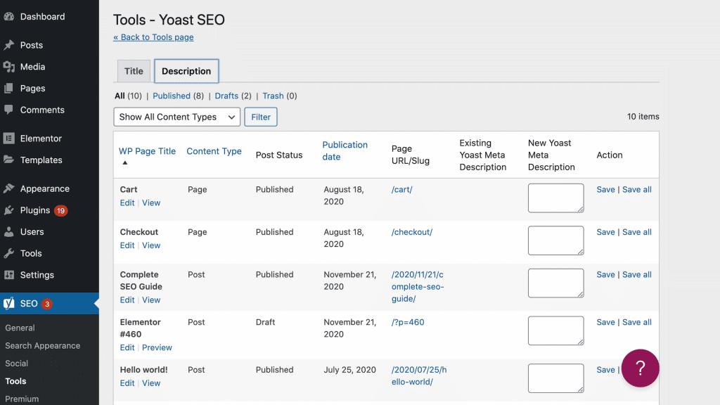 Elementor SEO: Meta-Beschreibung (Snippets) mit Yoast