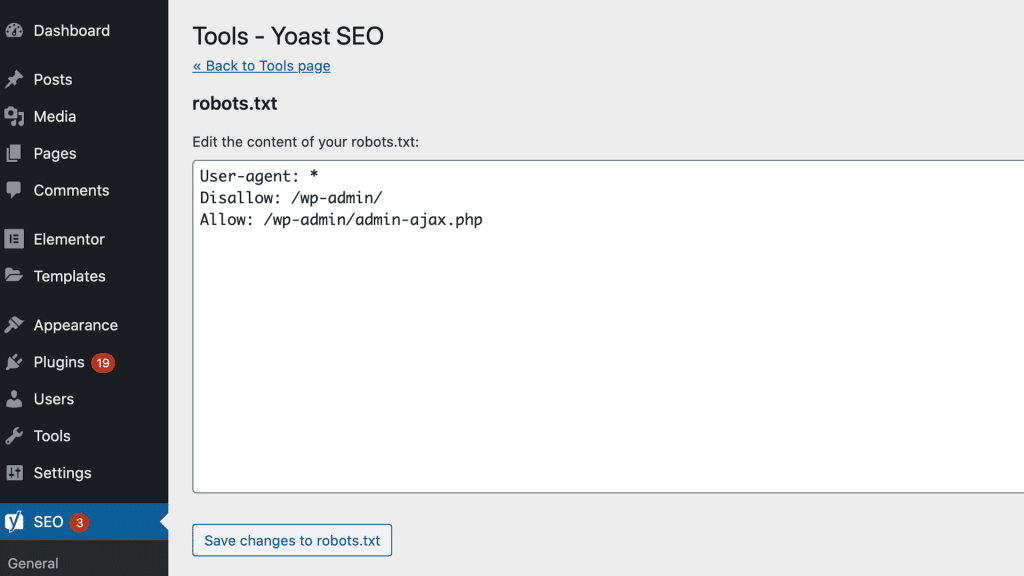 Elementor SEO: Robots.txt mit Yoast SEO bearbeiten