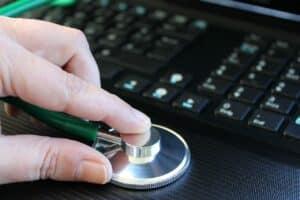 pc, computer, stethoscope